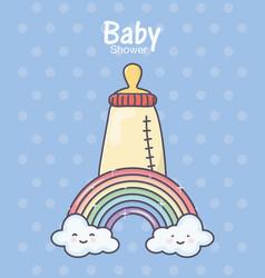 Bashower feeding bottle rainbow clouds polka vector
