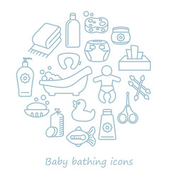 Bathing and baby care line icons in form vector