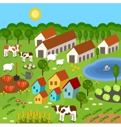 Big set of rural farmer elements vector image