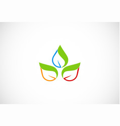 bio colored green leaf organic logo vector image
