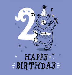 Birthday card for 2 year old baby vector