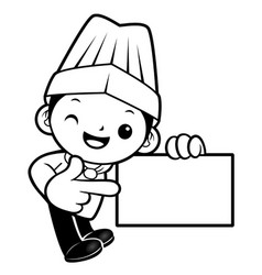 black and white cook mascot is promoting a vector image vector image