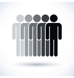 Black five people man figure with drop shadow vector