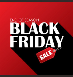 black friday sale banner white text on red vector image