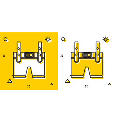 Black lederhosen icon isolated on yellow and white vector
