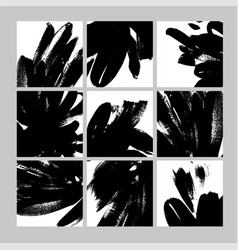 black paint brushstrokes hand drawn vector image