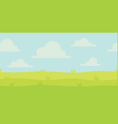 bright nature landscape with sky hills and grass vector image
