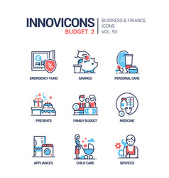 Budget - line design style icons set vector