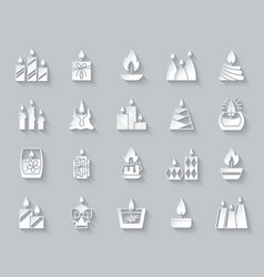 Candle flame simple paper cut icons set vector