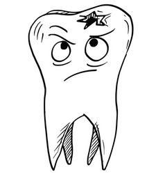 Cartoon decayed carious tooth vector