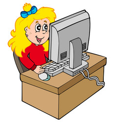 cartoon girl working with computer vector image