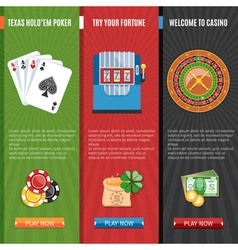 Casino Flat Banners Set vector
