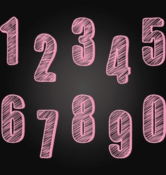 Chalkboard Numbers set Hand Draw Chalk Numbers vector