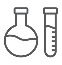 chemical analysis line icon laboratory and flask vector image