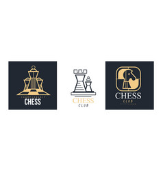 chess club logo design set retro classic badges vector image