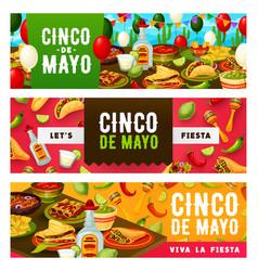 cinco de mayo fiesta tacos tequila and sombrero vector image