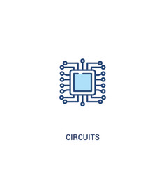 Circuits concept 2 colored icon simple line vector