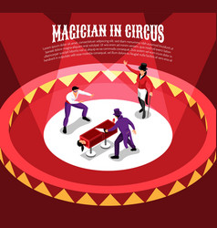 circus magicians isometric background vector image