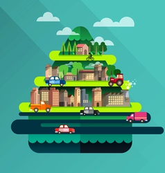 City travel landscape and building vector
