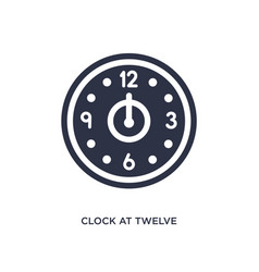 Clock at twelve oclock icon on white background vector
