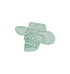 Cowboy Skull Drawing vector image