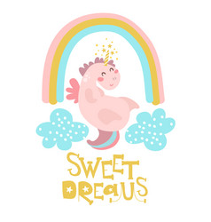 Cute pink unicorn with rainbow and clouds vector