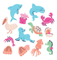 cute set hand drawn sea animals isolated vector image