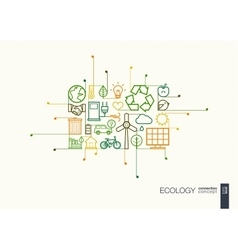 Ecology integrated thin line symbols vector image