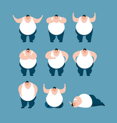 fat set poses and motion stout guy happy and yoga vector image