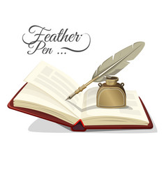 Feather pen and inkwell on open book vector