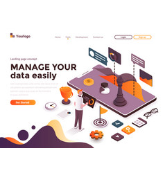 flat color modern isometric concept - manage vector image