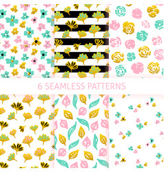 flower trendy seamless patterns vector image