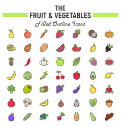 fruit and vegetables filled outline icon set vector image