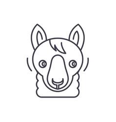 funny llama line icon concept funny llama vector image