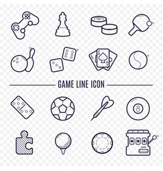 games linear icons ping-pong golf billiards vector image