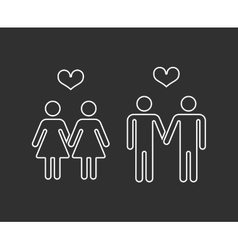 gay pairs in love thin line icons vector image