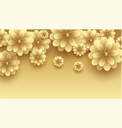 Golden 3d flowers decorative premium background vector