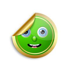 golden smiling face sticker for custom design vector image