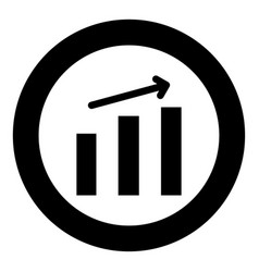 growth chart the black color icon in circle or vector image