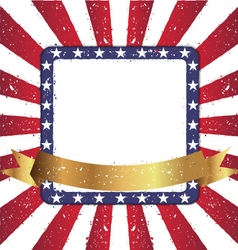 Grunge Squre Shape American Sunburst Flag vector image
