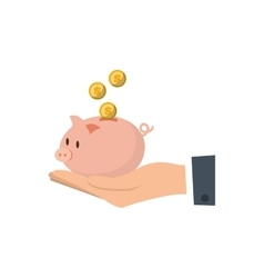 Hand holding piggy coins money safe vector