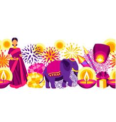 happy diwali seamless pattern deepavali vector image