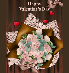 happy valentine day bouquet vector image