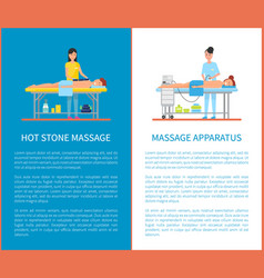 hot stone and apparatus massage equipment vector image