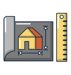 house plan icon cartoon style vector image