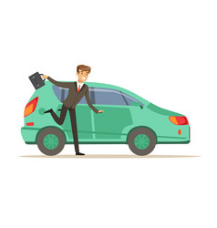 hurrying man character running to his car vector image