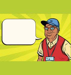 joyful african old man in a baseball cap vector image