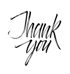 Lettering thank you wrote brush thank you vector