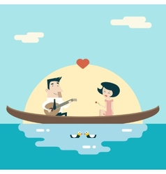 Love Male and Female on Gondola Cartoon Characters vector