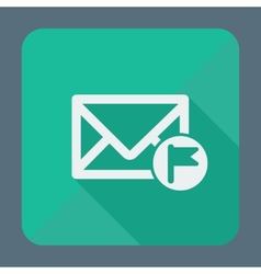 Mail icon envelope with flag Flat design vector image